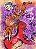 Chagall, Marc L'Écuyère au cheval rouge (Die Zirkusreiterin). 1957. Farblithographie auf Velin. 31,4 x 24 cm. - Auf Karton montiert.
