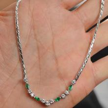 1.05 Carats t.w. Diamond and Emerald Dinner Necklace Solid 18K White Gold