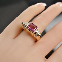 2.32 Carats t.w. Diamond,Sapphire, Pink Topaz Ring 14K Gold