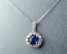 Elegant 18K Gold Sapphire and Diamond Pendant W/ Gold Chain