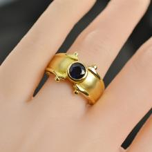 0.86 Carat t.w. Sapphire Ring Solid 18K Yellow Gold 8.47 Grams