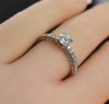 0.95 Carat t.w. Diamond MicroPave Wedding Ring 18K White Gold