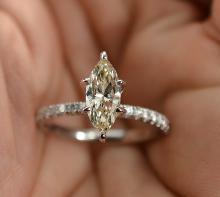 1.25 Carats t.w. Diamond Wedding/Engagement Ring 14K Gold Beautiful Long 1.00 Carat Marquise Diamond