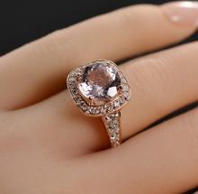 3.99 Carats t.w. Diamond and Morganite Halo Ring 14K Rose Gold