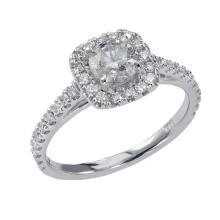 0.88 Carat t.w. Diamond Halo Wedding Ring 14K Gold