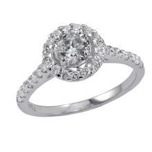 Retail 0.96 Carat t.w. Diamond Halo Wedding/Anniversary Ring 14K Gold