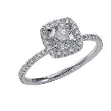 0.89 Carat t.w. diamond Halo Wedding Ring