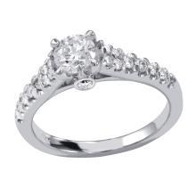 0.82 Carat t.w. Diamond Wedding/Engagement Ring 14K Gold Center Diamond is