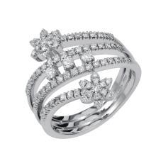 18K White Gold 1.00 Ct t.w. Diamond Elegant Split Shank Dinner Ring