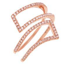 14K Rose Gold Diamond Overlap Cocktail Ring