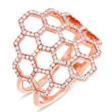 Stunning 14K Rose Gold Diamond Cocktail Ring