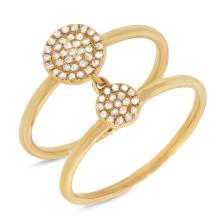 14K Yellow Gold Connecting Diamond Circles Double Ring