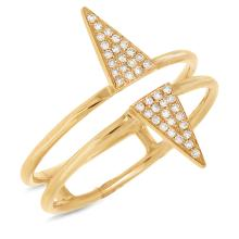 14K Yellow Gold Diamond Double Triangle Cocktail Ring