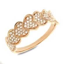 14K Yellow Gold Diamond Pave Set Heart Ring