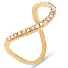 14K Yellow Gold Diamond U Design Cocktail Ring