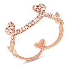 14K Rose Gold Diamond Crown Design Cocktail Ring