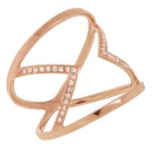$1,800 Retail Stunning 14K Rose Gold Diamond Cocktail Ring