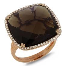 $2,800 Retail 14K Rose Gold Smoky Topaz and Diamond Cocktail Ring