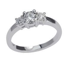 0.71 Carat t.w. Diamond 3 Stone Wedding Ring 14K Gold