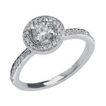 0.51 Carat t.w. Diamond Halo Wedding Ring 14K Gold