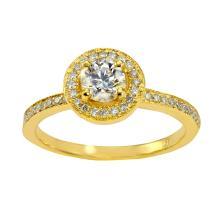 0.61 Carat t.w. Diamond Wedding/Anniversary Ring 14K Gold Center Diamond
