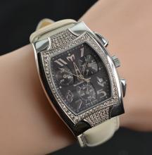 S/S Techno Marine Technosquare Factory Diamond Bezel Black Chrono Dial on White Strap