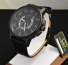 S/S Curtis&Co Mens Big Time Cool Black Dial on Leather Strap W/PVD Finish