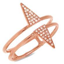 $1,199 Retail 14K Rose Gold Diamond Triangle Split Shank Ring
