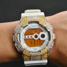 Stainless Steel Casio Custom Design Inspired Sports Watch on White Rubber Strap