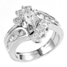 1.52 Carats t.w. Marquise Cut & Round Diamond Anniversary Set in14KWG