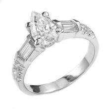 1.94 Carats t.w. Diamond Wedding Set 18K Gold Center Diamond is 1.10 Carats