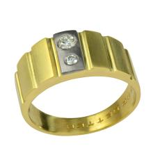 14K Yellow Gold 0.22 TDW 2-Stone Diamond Ring With Ribbed Shank Design