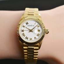 Solid 18K Yellow Gold Geneve Automatic Womens Watch 26MM 2.14 Ounces t.w.