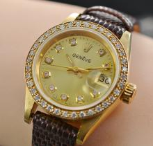 18K Solid Gold Geneve 26MM Diamond Bezel & Dial Watch With Leather Band