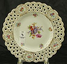 German Saxe Floral Reticulated Plate