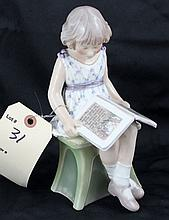 Dahl Jensen Copenhagen Denmark Figurine of Girl Reading Fairytale #1107