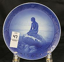 Royal Copenhagen Year Plate Little Mermaid At Winter Time 1962