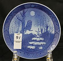 Royal Copenhagen Year Plate Winter Twilight 1974 Owl