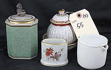 4 Piece Lot - Dahl Jensen Copenhagen Covered Pot, Tea Caddy, Etc.