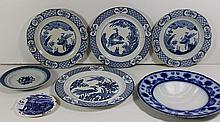 Antique Lot of 7 English Blue and White Plates