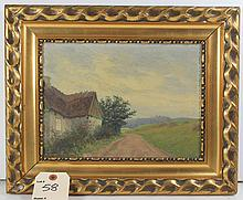 EF Denmark Artist Oil on Canvas Painting 1914