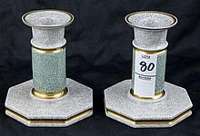 Royal Copenhagen Crackle Pair of Candlesticks #457 3303