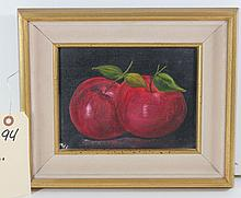 Contemporary Oil On Artist Board Of Apples