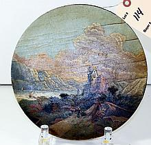 Victorian Painted Treen Plate Landscape