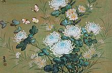 Chinese Watercolor Peony and Butterflies Signed