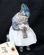 Royal Copenhagen Denmark Figurine Little Girl Knitting #1314 FLX