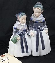 Royal Copenhagen Denmark Figurine Two Young Girls Amager girls 1911 #1316 RPX Signed