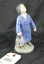 Royal Copenhagen Denmark Figurine Boy In Raincoat With Umbrella #3556 NV