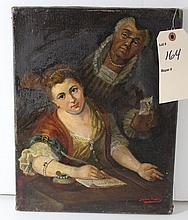 Early Italian Signed Oil on Canvas Teacher & Pupil