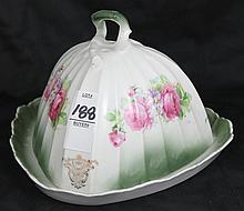 English Porcelan Covered Condiment Dish Hand Painted Floral
